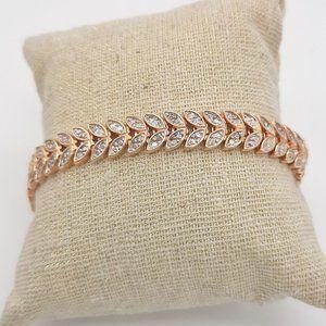 Rose Gold Laurel Bracelet With Diamond Solitaire